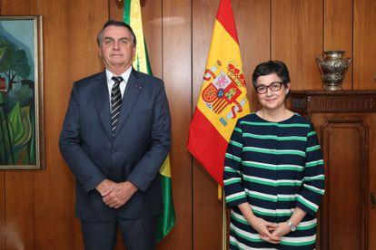 O presidente Jair Bolsonaro e a ministra das Relações Exteriores da Espanha, Arancha González Laya, nesta sexta.