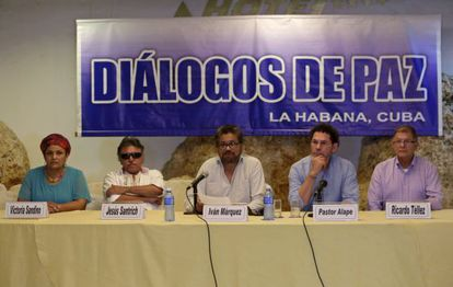 Negociadores das FARC, neste sábado em Havana.