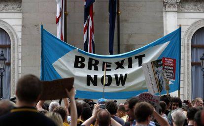 Manifestantes a favor do 'Brexit', em 31 de agosto, em Londres.