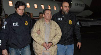 El Chapo após ser extraditado para os Estados Unidos.