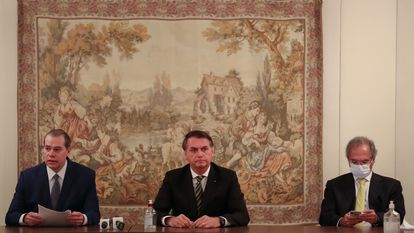 Dias Toffoli, Jair Bolsonaro e Paulo Guedes em reunião no STF.