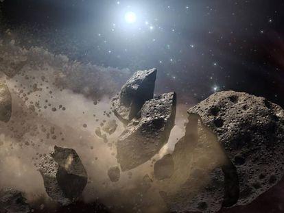 Recriação artística de um asteroide se desintegrando