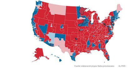 Mapa de votação para a Câmara, por distrito. Em azul, o desempenho dos democratas (claro é onde eles lideram, escuro onde ganharam e em listrado os votos que eles reverteram). Em vermelho, o dos republicanos (legenda idem)