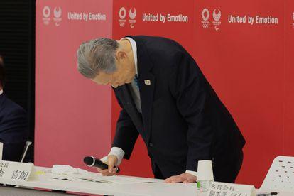 O presidente do Comitê Organizador dos Jogos Olímpicos de Tóquio 2020, Yoshiro Mori, ao anunciar sua renúncia em Tóquio.
