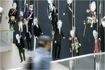 'El pago de Chile', obra de Nicanor Parra, na mostra da Universidade Diego Portales.