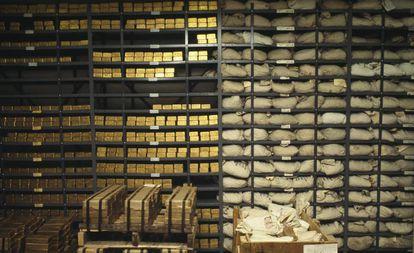Lingotes de ouro de um banco de Nova York.