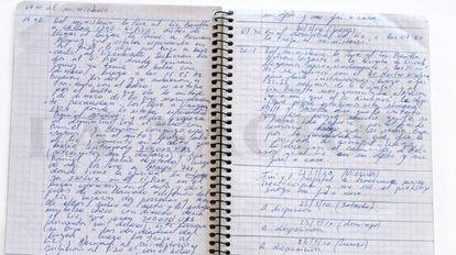 Detalhe de um dos cadernos onde o chofer Oscar Centeno registrou o transporte de suposto dinheiro de propina durante o kirchnerismo.