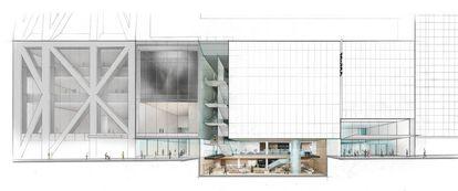 Corte da ampliação do museu.
