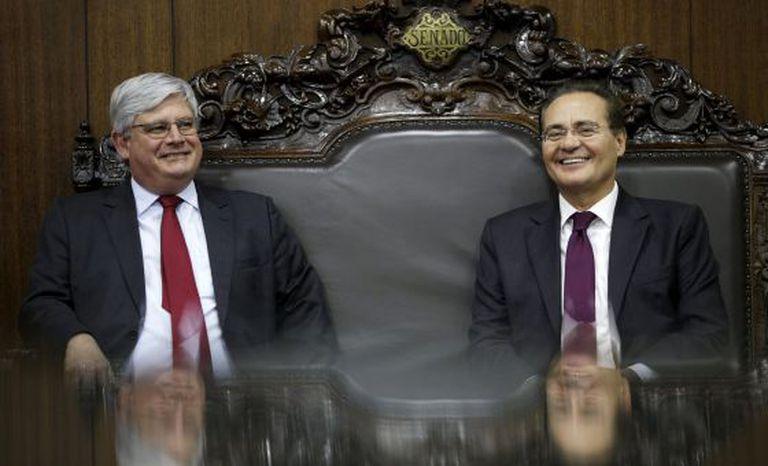 Rodrigo Janot e Renan Calheiros, reunidos nesta segunda-feira.