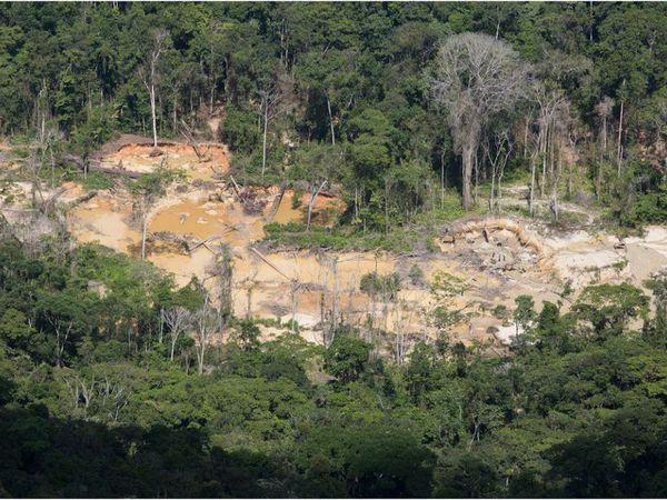 Garimpo dentro da Terra Indígena Yanomami flagrado durante sobrevoo da Funai no último dia 18.