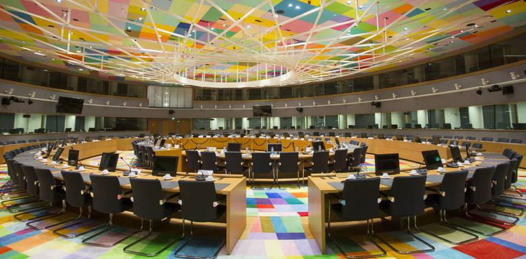 Interior do Edifício Europa, centro de operações do Conselho Europeu.