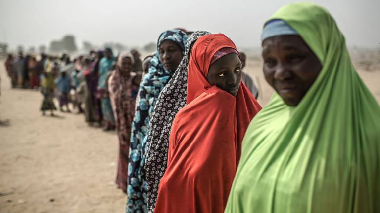 Mulheres no campo de refugiados de Muna Garage, no Estado de Borno (Nigéria).