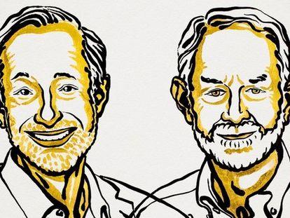 Os pesquisadores Paul R. Milgrom e Robert B. Wilson em ilustração divulgada pela Academia Sueca.