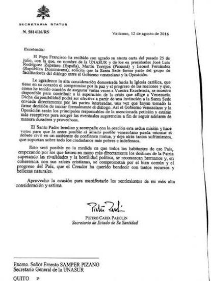 Carta enviada do Vaticano à Unasul