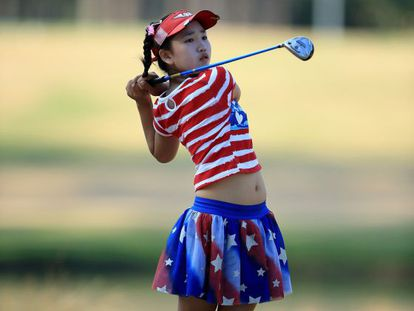 Lucy Li, na primeira jornada do US Open.