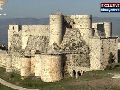 Imagem da TV libanesa mostra o castelo cruzado do Krak dos Cavaleiros.