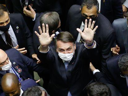 O presidente Jair Bolsonaro durante cerimônia de abertura do ano legislativo no Congresso, em 3 de fevereiro.