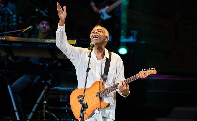 Gilberto Gil em show em São Paulo.