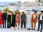 CANNES, FRANCE - JULY 06: Jury members Mylène Farmer, Kleber Mendonça Filho, Maggie Gyllenhaal, Jessica Hausner, Mati Diop, jury president Spike Lee, jury members Mélanie Laurent,  Tahar Rahim and Song Kang-ho attend the Jury photocall during the 74th annual Cannes FilmFestival on July 06, 2021 in Cannes, France. (Photo by Daniele Venturelli/WireImage)