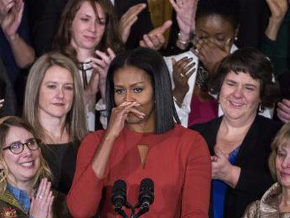 A primeira-dama faz seu último ato público na Casa Branca pedindo que os norte-americanos defendam seus direitos