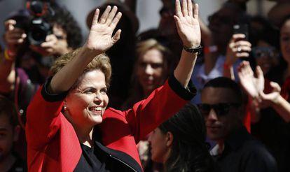 Dilma no ato de Primeiro de Maio em São Paulo.