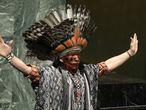 Nilson Tuwe Huni Kuĩ, líder indígena da Amazônia brasileira, durante sua intervenção em um evento mundial sobre paz e diversidade religiosa na sede das Nações Unidas, em Nova York, em fevereiro de 2013.