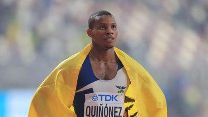 Alex Quiñónez, após ganhar a medalha de bronze da final dos 200m do Campeonato Mundial de Doha, em 2019.