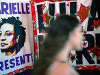 Cartel en recuerdo a Marielle Franco, en Rio de Janeiro.
