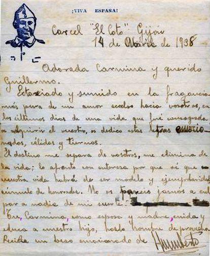 Carta de Humberto Alonso Pérez a sua esposa, Carmina, e ao seu filho, Guillermo, da prisão de El Coto (Gijón), em 14 de abril de 1938.