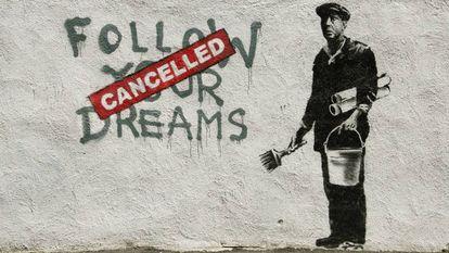 Uma das obras de Banksy, que apareceu na Chinatown de Boston, em 2010
