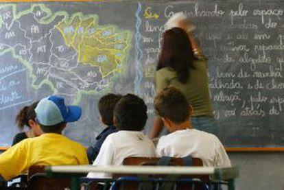 Alunos em uma escola estadual de Itaquaquecetuba, São Paulo.