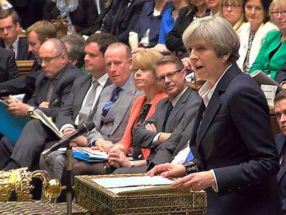 Theresa May, na terça-feira em uma intervenção na Câmara dos Comuns.
