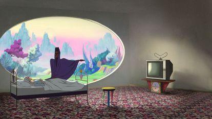 Sequência da animação 'O Congresso Futurista', com uma Robin Wright ilustrada.