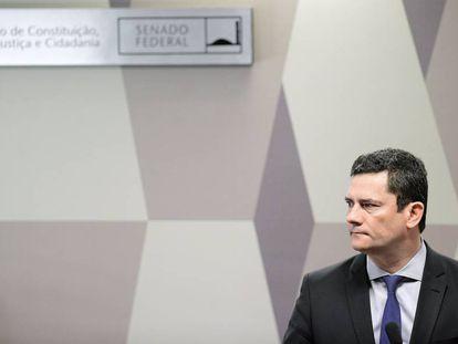 O ministro Sergio Moro na CCJ do Senado.