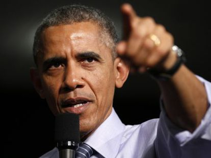 Barack Obama durante visita em Indianápolis.