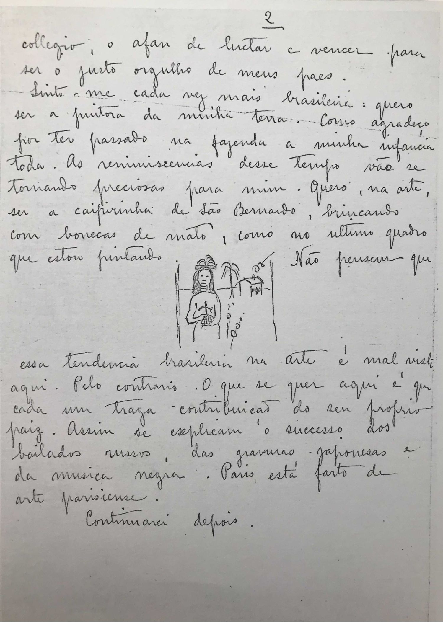 A carta em que Tarsila contra a sua família desde Paris que está pintando a obra agora à venda.