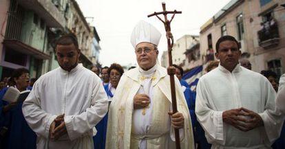 O cardeal cubano Jaime Ortega em uma procissão na quarta-feira.