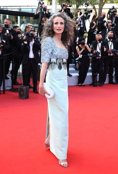 """CANNES, FRANCE - JULY 06:  Andie MacDowell attends the """"Annette"""" screening and opening ceremony during the 74th annual Cannes Film Festival on July 06, 2021 in Cannes, France. (Photo by Mike Marsland/WireImage)"""