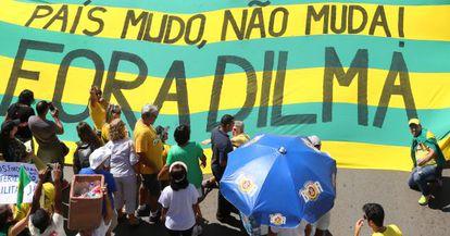 Protesto em Brasília, em abril.