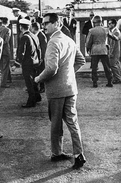 Jânio Quadros em Uruguaiana-RS próximo ao encontro com o presidente argentino Arturo Frondizi, em 21 de abril de 1961.