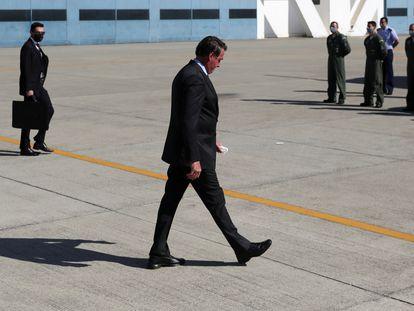 O presidente Jair Bolsonaro participa de evento de envio da missão brasileira ao Líbano, na quarta.