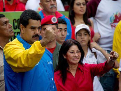 Nicolás Maduro e Cilia Flores em um evento em Caracas.