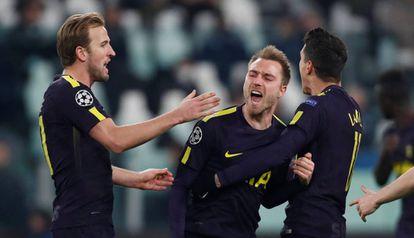 Eriksen marcou o gol de empate do Tottenham em Turim.