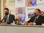 Eduardo Leite, governador do Rio Grande do Sul, que testou positivo para o novo coronavírus, ao lado do ministro interino da Saúde, Eduardo Pazuello, que agora fará o teste.