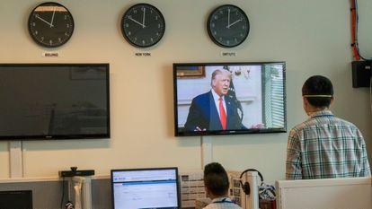 O presidente dos Estados Unidos, Donald Trump, durante sua intervenção no 75º debate anual da ONU.