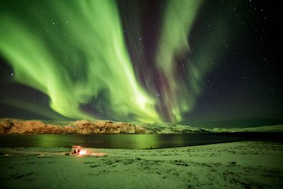Aurora boreal em Myre, na província norueguesa de Troms, dentro do Círculo Polar Ártico.