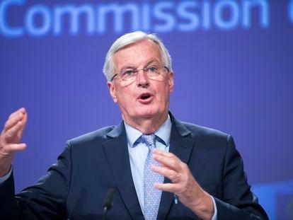 O negociador-chefe do bloco europeu, Michel Barnier, durante pronunciamento em Bruxelas, nesta sexta-feira.