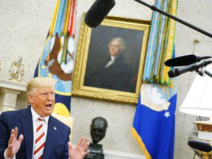 O presidente dos EUA, Donald Trump, na Casa Branca.