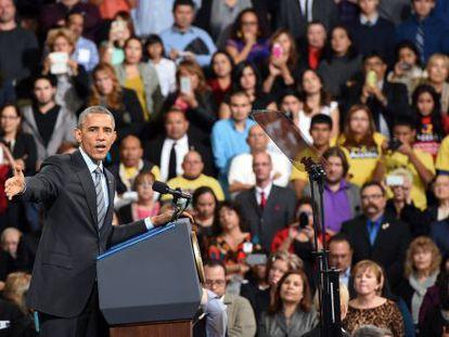 Obama, durante seu ato em Las Vegas.