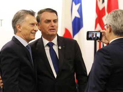 Macri e Bolsonaro, no sábado passado em Osaka (Japão).